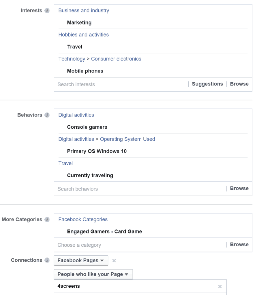 how to promote your quiz facebook like a pro screens connections here you can choose out of many options connected different facebook activities for ex liked pages apps used or event that the user is