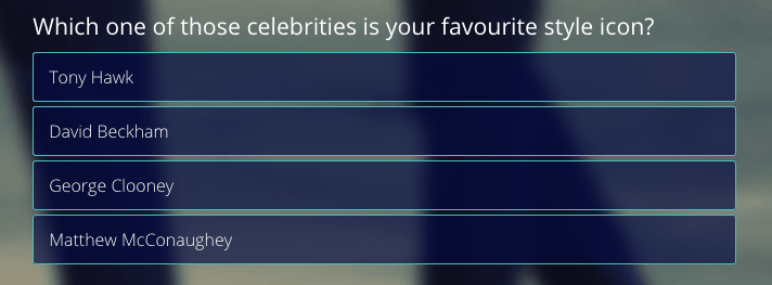 multiple choice interactive content