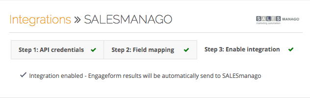 integration of Engageform and SALESmanago